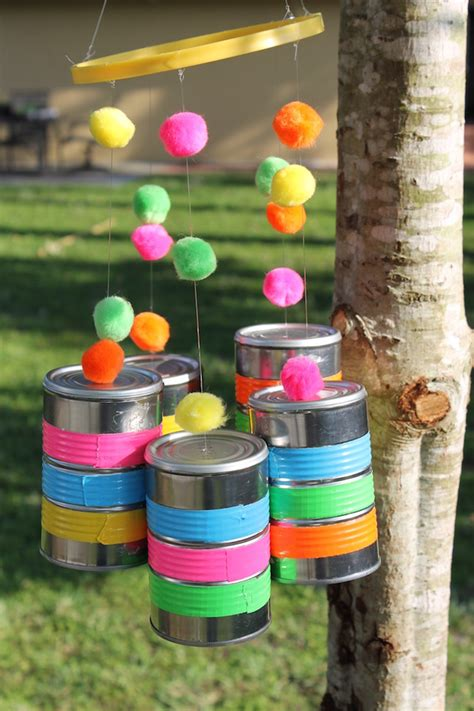 diy wind chimes   recycled tin cans