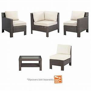 hampton bay beverly 5 piece patio sectional seating set With 5 piece sectional sofa slipcovers
