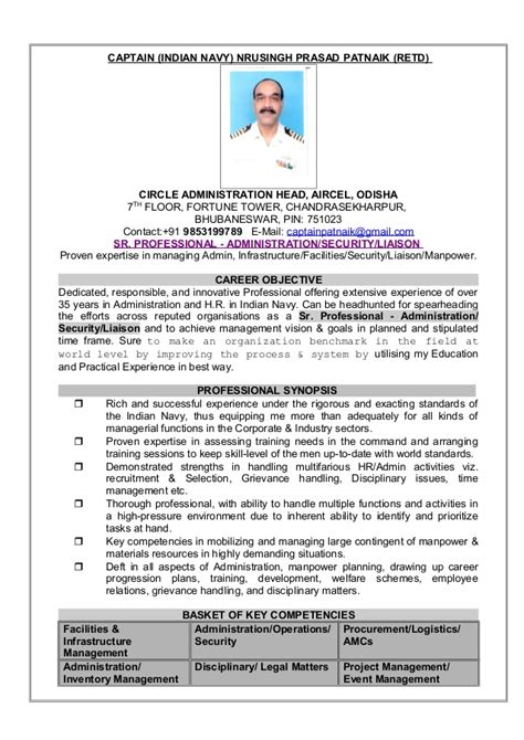 Trainer Resume India by Resume Captain Np Patnaik Indian Navy