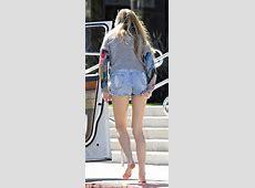 Whitney Port struggles as her tiny denim shorts ride up