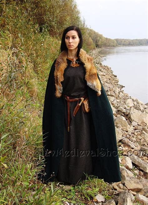 cloak  fur trim viking clothing pinterest cloaks