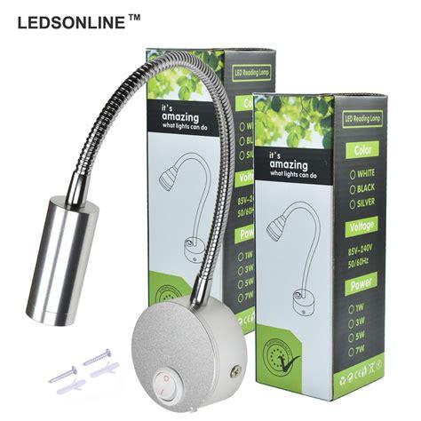 ledsonline 3w led wall sconce l silver spotlight reading light soft light gooseneck