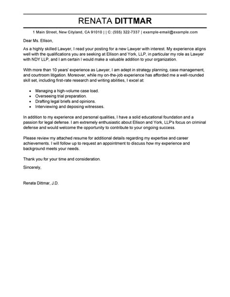 Cover Letter Attorney Position by Best Lawyer Cover Letter Exles Livecareer