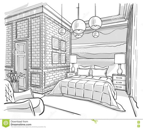 croquis chambre a coucher desenho de esboço interior do vetor do esboço do quarto