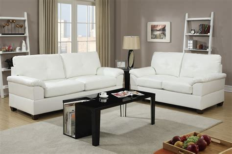 Leather Sofa And Loveseat Sets by Poundex Elimination F7582 White Leather Sofa And Loveseat