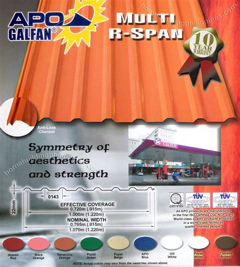 Tiles At Home Depot by Apo Galfan Multi R Span Steel Roofing Colors Philippines