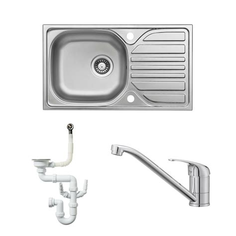 cooke and lewis kitchen sinks cooke lewis hewish 1 bowl satin stainless steel sink 8328