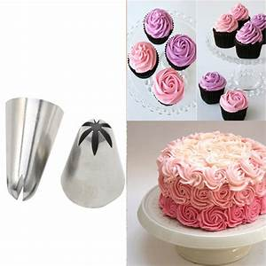 TANGCHU 2 PCS Rose Styles Stainless Steel Russian Nozzle