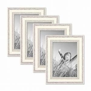 Fotorahmen Shabby Chic : 4er set bilderrahmen shabby chic landhaus stil weiss 13x18 cm massivholz mit glasscheibe und ~ Sanjose-hotels-ca.com Haus und Dekorationen