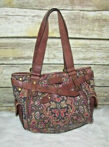 fossil long  vintage  pattern canvas leather