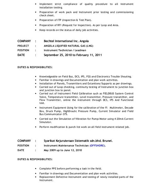 Instrument Technician Resume by Instrument Technician For Maintenance New