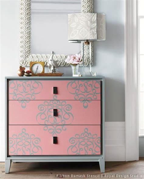 stylish entryway ideas using wall stencils stencil dresser damask stencil and stenciling
