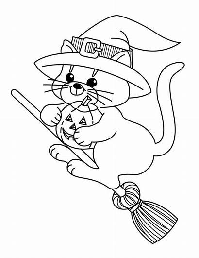 Witch Cat Flying Coloring Pages Halloween Printable