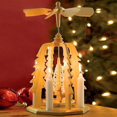 german christmas pyramid wooden candle powered carousel