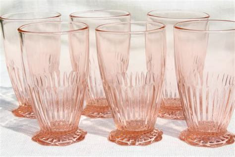vintage  colony lace edge fine rib drinking glasses pink depression footed tumblers