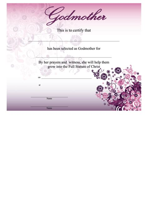 godmother certificate template pink printable