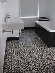 Bathroom Floor Tile with Black and White