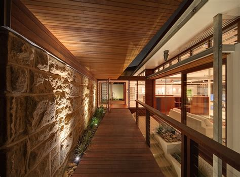 sydney wooden stone madera architectural workshop tennyson point residence wall multi australia cplusc wood level waterfront timber paredes walkway para