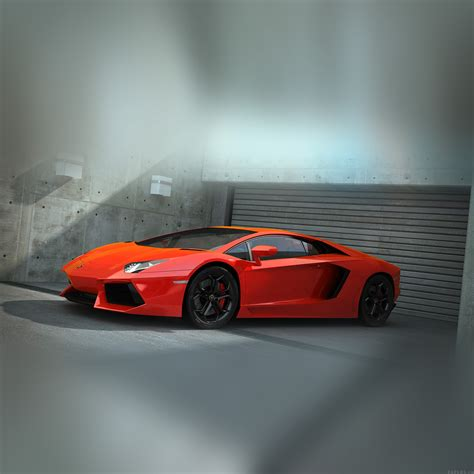 Ai89-red-lamborghini-parked-car-art