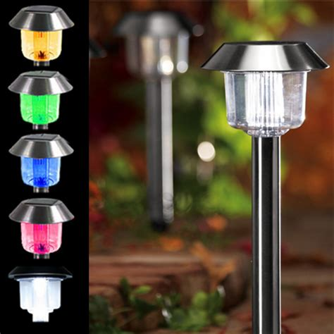 solar path lights with white and color changing lights