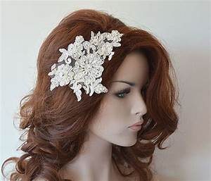 Ivory Lace Wedding Headband Silver Silvery Lace Bridal