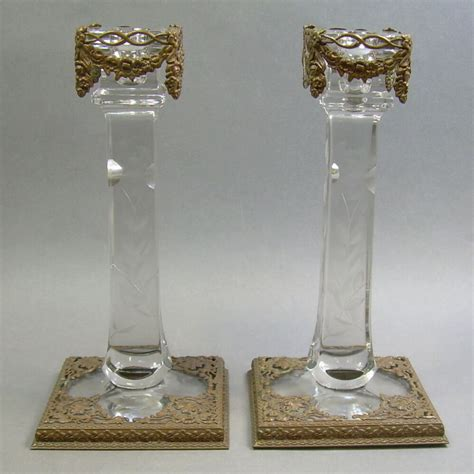 Glass Candle Stick Holders by Pair Of Antique Era Cut Glass Candlesticks