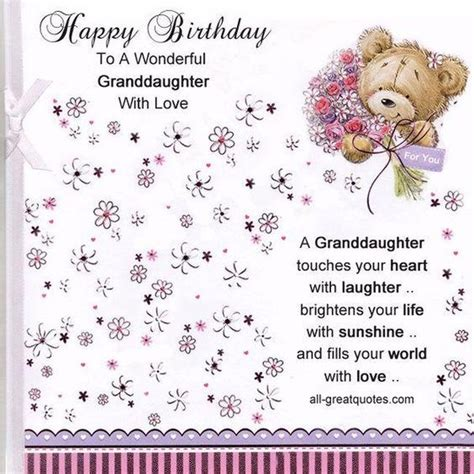 In other words, the best time to say happy birthday with one or more birthday quotes in a card, ecard or text is when you want to make a big statement in the. Happy Birthday Granddaughter Quotes and Wishes