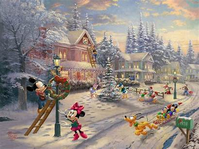 Kinkade Thomas Christmas Victorian Disney Mickey Paintings