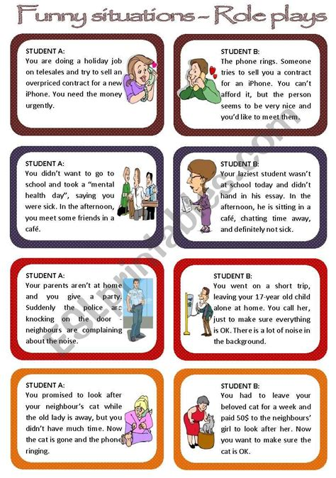 English Worksheets Role Plays For Intermediate Students  Funny Situations Set 1