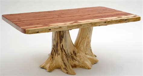 Cabin Furniture, Log Dining Table, Unique Stump Tree Base
