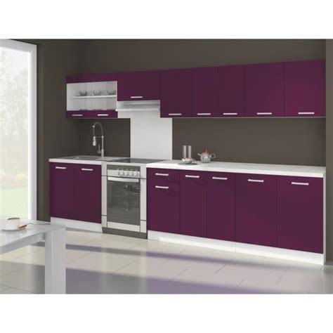 meuble cuisine aubergine ultra cuisine complète 3m20 aubergine mat achat