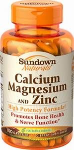 Sundown Naturals Calcium Magnesium And Zinc Supplement 100 Caplets