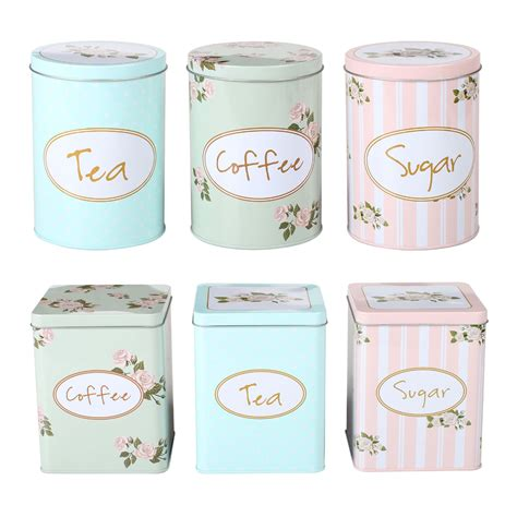 shabby chic tea coffee sugar canisters 3pc tea sugar coffee canisters metal floral shabby chic spectraair com