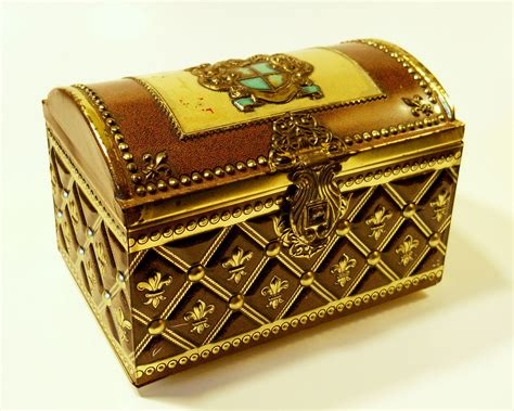 vintage treasure chest embossed treasure box tin with