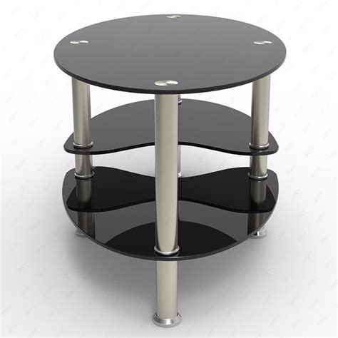 Living Room Side Tables Ebay by Glass Black Coffee Table Oval Side Shelves Chrome Base