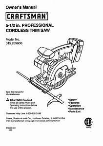 Craftsman Saw 315 2696 User Guide