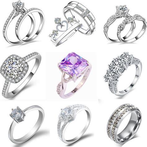 women wedding rings fashion women silver plated rhinestone 1458