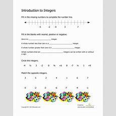 Introduction To Integers  Worksheet Educationcom