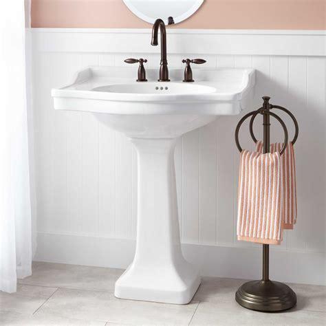 small pedestal sink oval pedestal sink signature hardware