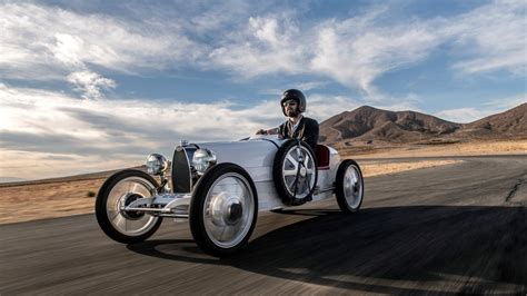 It's 75% of the size of a real bugatti type 35. The New Bugatti Baby II Mini Car Dares You to Doubt a $71K Go-Kart Is Worth It