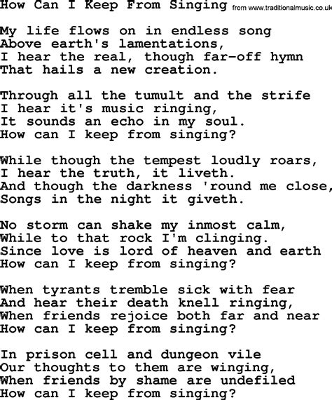 Pete Seeger Song  How Can I Keep From Singing Lyrics