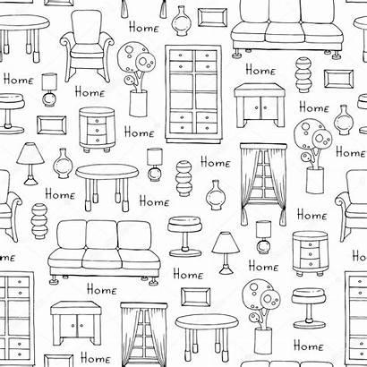 Furniture Pattern Drawn Hand Illustration Background Vector