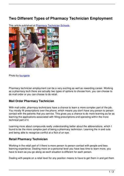 Types Of Pharmacy by Two Different Types Of Pharmacy Technician Employment