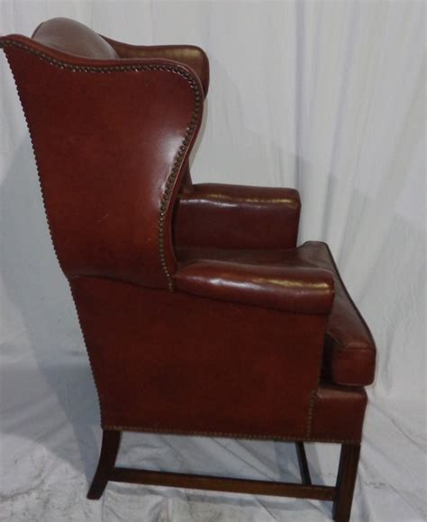 leather wing back chair and ottoman