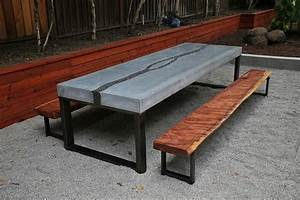 Concrete Table & Benches - Modern - Dining Sets - san
