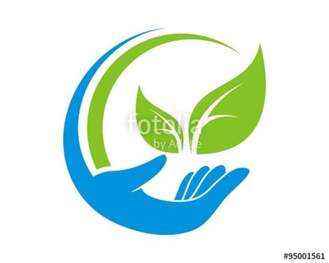 """""""abstract hand care leaf logo"""" Stock image and royalty ..."""