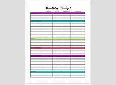 Budget Binder Monthly Budget Printable