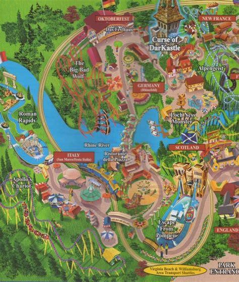 Busch Gardens Ta Directions by Map Of Busch Gardens Williamsburg 2017 Garden Ftempo