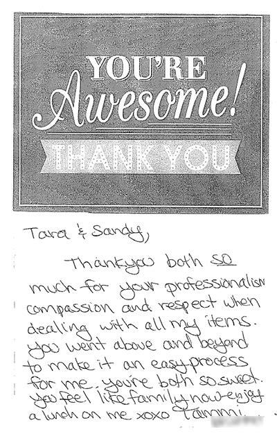 Thank You Card From Tammi   Emergency Restoration Customer