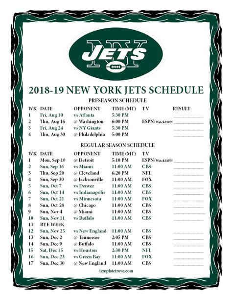printable    york jets schedule